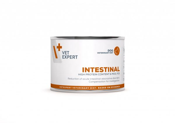 VetExpert 4T Tierärztliche Diät - Intestinal – Premium Tierärztliche Diät für Hunde mitVerdauungsstörungen, Diätfutter, Tierärztliche Diät, Erbrechen und Durchfall, entzündlichen Magen- und Darmerkrankungen, Futtermittelunverträglichkeit, Verdauungsbeschwerden, Magen und Darm Infek, Magenentleerung, Bauchspeicheldrüse, Pankreasfunktion, Gastro Intestinal.